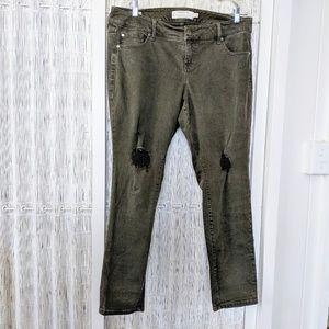 Torrid Boyfriend Distressed Olive Jeans